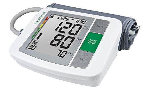 Medisana BU 510 Sfigmomanometro da Braccio Indicatore aritmie, 90 spazi di memoria per ciascuno dei 2 utenti, Display con cifre molto grandi, Visualizza dati: sistolico, diastolico, impulso - 51160