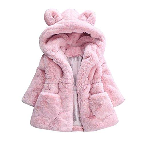 Babykleidung,Sannysis Baby Mädchen Herbst Winter Kapuzenmantel Umhangjacke Dicke warme Kleidung 1-4Jahre (90, Rosa) Baby Winter Jacke
