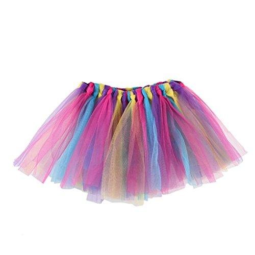 QinMM Falda Niña Chicas Enaguas Arco Iris Tutú Vistoso Vestir Ropa de Baile Costume (C)