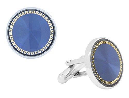 Die Jewelbox Emaille Armbanduhr Schwarz rhodiniert Messing Manschettenknöpfe Paar für Herren
