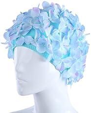Moonlight Flowers Design Cap Three-Dimensional Petal Swimming Caps for Long Hair-Parent