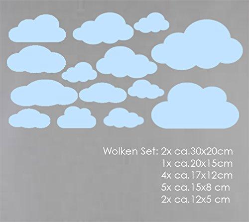 WOLKEN SET 14x Wolke Wandtattoo Wandaufkleber Sticker Aufkleber Wand Himmel Baby (Wolkenset 14 Teilig, Babyblau) (Himmel Und Wolken)