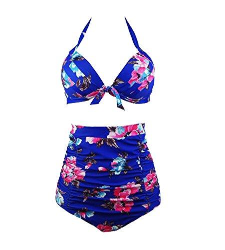 Waroom 2018 Vintage Geraffte 50er Jahre Damen Hoch taillierte Badeanzug - Solide Geraffte Halter Bow Bikini Zwei Stück - Retro Wellen Punkte der Frauen Konservative Split Bademode (S, Königs Blau) (Zwei Stück Bikini-badeanzug)