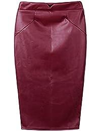 Romacci Femmes Sexy Jupe PU Cuir Robe Crayon Bodycon Jupes OL Clubwear Slim 7b7b41c2242a