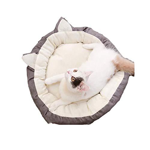 Gepolstert Medien (Warm Rundes weiches Katzenbett gepolstert, bequem mit rutschfestem Bett für Haustiere (grau/Innendurchmesser 54 cm, klein) Gemütlich (größe : 44cm))
