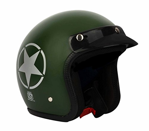 O2 Riderswear Open Face Green Star Helmet,(Green,Medium)