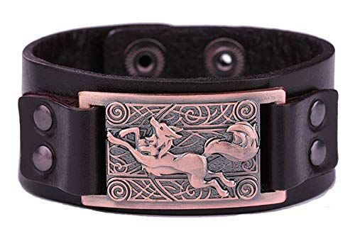 eujiancai Vintage Fenrir Nordic Wolf Celtic Knot Metal Cuff Bracelet Spiritual Animal Jewelry for Men/Women Gift (Brown Wristband, Antique Copper) - Womens Celtic Schmuck