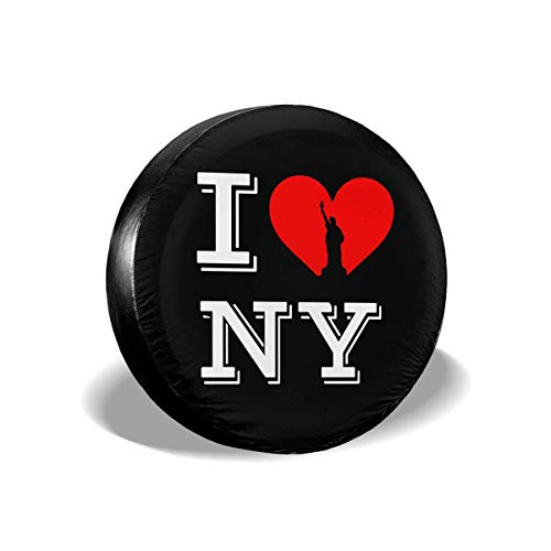 Bag hat I Love Ny New York Polyester Universal Spare Wheel Tire Cover Wheel Covers Jeep Trailer Rv SUV Truck Camper Travel Trailer Accessories 15 Inch