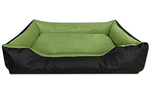 BedDog Hundebett LUPI/Hundesofa aus Cordura & Microfaser-Velours/waschbares Hundebett mit Rand/Hundekissen Vier-eckig/für Drinnen & draußen/XXXL / Green-Field/schwarz-grün