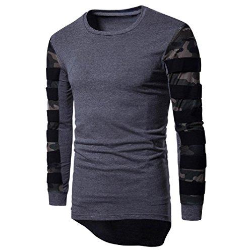 SUCES Herren Langarm Multicolor gedruckt Pullover Sweatshirt Top Tee Outwear Bluse Cold Herren Sweatshirt Pullover Sweater mit Rundhals-Ausschnitt aus hochwertiger Baumwollmischung (Gray, XL) (Langarm-henley Brusttasche)