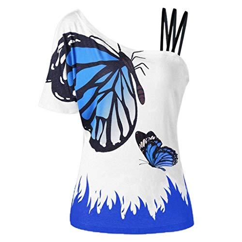 Gabbana Mode T-shirt (VEMOW Sommer Elegante Damen Große Größe Frauen Schmetterling Druck Oansatz Schwarz T-Shirt Kurzarm Casual Täglichen Party Tops Bluse rückenfrei Pullover)