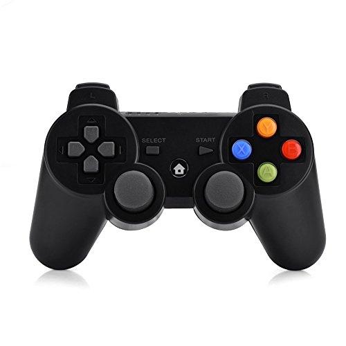 Richer-R Contrôleur de Jeu Bluetooth, Manette de Jeu sans Fil 2.4G Gamepad Joystick pour Ordinateur, Téléphone Intelligent, Smart TV, Play Station 3 appareils, Letv, Xiaomi TV et Plus, Noir