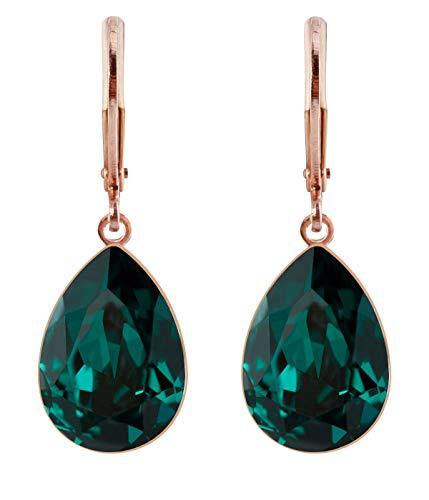 petra kupfer Damen Ohrringe Ohrhänger Tropfen Anhänger 1 Swarovski®-Kristall Grün Emerald Rose Gold Vergoldet rdh1-rg-emerald