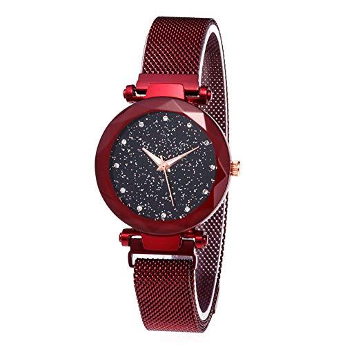 Damen Uhren, Starry Sky Damenuhren, Parkomm Frauen Sky Star Armbanduhr mit Magnet Band Schnalle für Business/Urlaub/Geburtstag Geschenke (Rot)