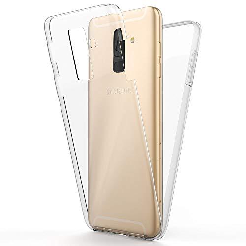 NALIA 360 Grad Handyhülle kompatibel mit Samsung Galaxy A6 Plus, Full-Cover Silikon Bumper mit Bildschirmschutz vorne Hardcase hinten, Hülle Doppel-Schutz Dünn Case Handy-Tasche, Farbe:Transparent