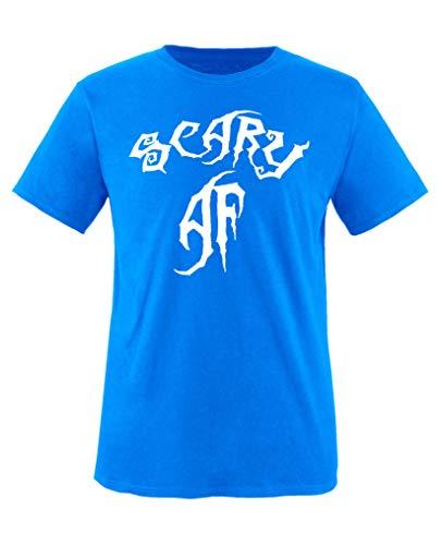 Comedy Shirts - Scary Af - Halloween - Mädchen T-Shirt - Royalblau/Weiss Gr. 98-104