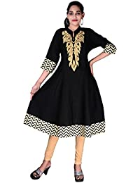 BLUEPOCKET Anarkali Kurti/Kurta for women(Cotton, Embroidered, Black)