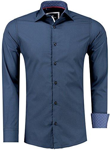 BARBONS Herren Hemd - Slim - FIT - Langarm - Premium Bügelleicht Hemden für Business, Freizeit, Hochzeit, Party für Männer - Blau Weiß Kragen M