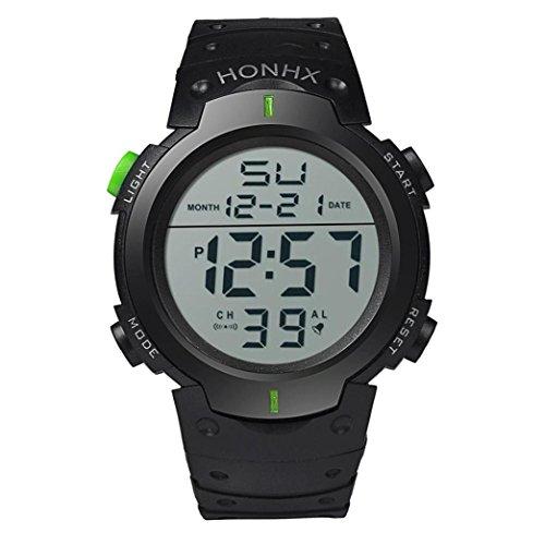 Montres Homme, Amlaiworld Montre en caoutchouc de sport de date de poignet Montre imperméable à la mode Boy LCD montre numérique Chronomètre (1, Vert)