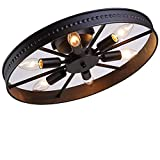 L Retro Rad Deckenleuchte Vintage Runde Deckenlampe Antik Industry Ring Design Kreative Decorative Deckenstrahler Eisen Lampeschirm Deckenbeleuchtung für Wohnzimmer Bar Cafe