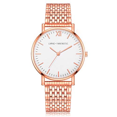 Förderung! Damen Einfach Armbanduhr, Frauen Fashion Damenuhr Analog Quarz Uhr mit Mesh Edelstahl, Elegant Ultra-flach Slim-Uhr Wrist Watch LEEDY