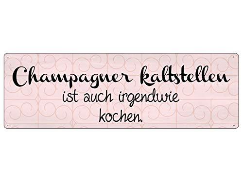 Interluxe METALLSCHILD Blechschild Champagner KALTSTELLEN IST AUCH IRGENDWIE Kochen Küche Party (Kochen Lustig)