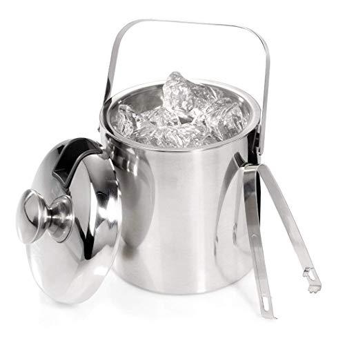 Qenci Ice Bucket Eiswürfelbehälter Edelstahl Eiseimer mit Zange und Deckel Eisbehälter Sektkühler, iseimer mit Doppelwand-Isolierung, Weinkühle Sektkühler Doppelwandiger 1.2 Liter