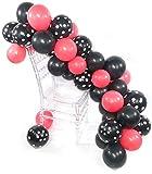 PuTwo Rose Noir Pois Blanc Ballon 90pcs 12 Pouces Ballon Helium Noir Ballons Fuchsia Ballon Baudruche Noir à Pois Blanc Ballon Gonflable pour la Déco d'Anniversaire Minnie l'Anniversaire de Fille