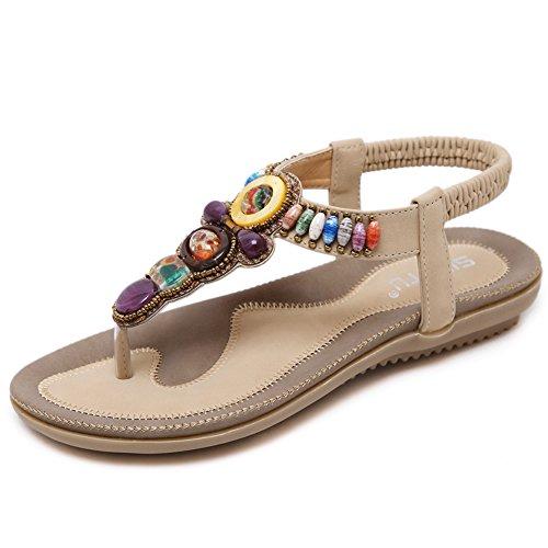 Woky Damen Sommer Sandalen Perlen Strand Zehentrenner Clip Toe Flip Flops Flach Bohemia Schuhe Größe 34-44