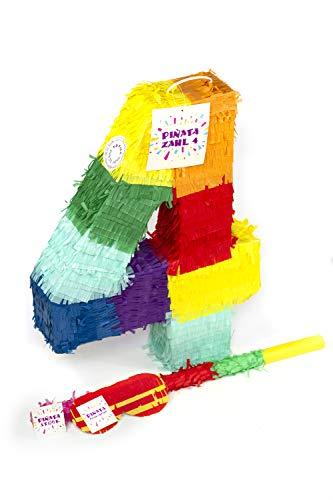 Kostüm Pinata Mädchen - Trendario Zahl 4 Pinata Set, Pinjatta + Stab + Augenmaske, Ideal zum Befüllen mit Süßigkeiten und Geschenken - Piñata für Kindergeburtstag Spiel, Geschenkidee, Party, Hochzeit