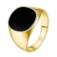 Idea Regalo - Yoursfs Dell'anello di Signet, mignolo anelli gioielli per uomini piazza pietra nera onice luce anello placcato in oro giallo 18ct.