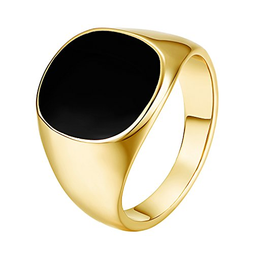 Yoursfs Pinky Ring for Men,18ct Yellow Gold Plated Black Stone Ring, Signet Ring with Black Onyx