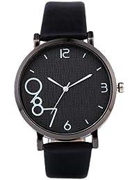 DAYLIN Mujer Hombre Relojes para Pareja Reloj Chica Elegante Reloj Pulsera Analogico de Cuarzo Correa Cuero Reloj Negro Blanco Mujer Wrist Watch Joyas Regalos