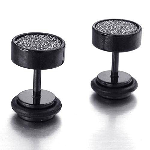 Sanwood® 2 Edelstahl Punk Piercing Ohrringe Ohrstecker unisex Herren 8mm (Schwarz)
