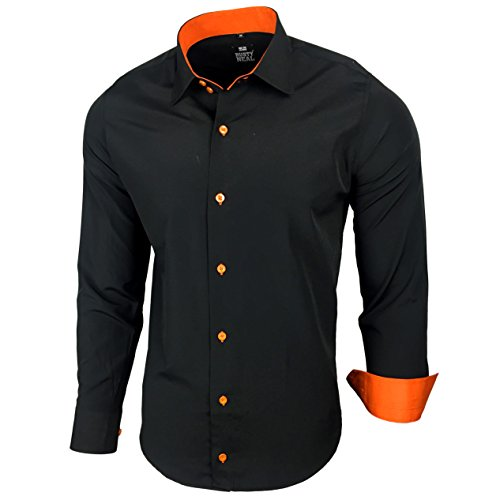 Kontrast Business Anzug Freizeit Polo Slim Fit Figurbetont Hemd Langarmhemd R-44, Farbe:Schwarz / Orange;Größe:6XL