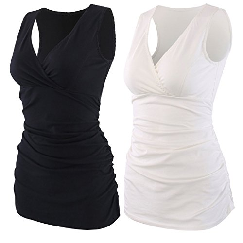 KUCI Damen Schwangerschafts- & Still-BH Gr. L, Black+White/2Pack