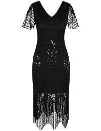 PrettyGuide Damen 1920er Charleston Kleid Pailetten Cocktail Flapper Kleid Mit Ärmel