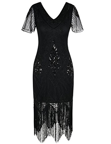 (PrettyGuide Damen 1920er Charleston Kleid Pailetten Cocktail Flapper Kleid Mit Ärmel,  X-Large, Schwarz)