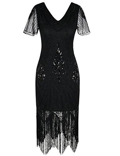 fransen kleid PrettyGuide Damen 1920er Charleston Kleid Pailetten Cocktail Flapper Kleid Mit Ärmel S Schwarz