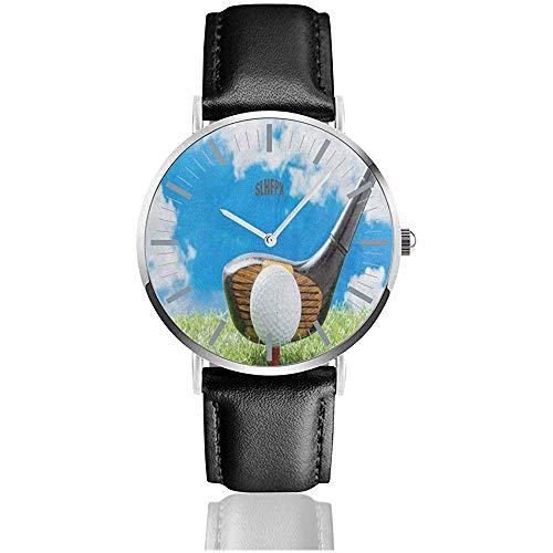 Armbanduhr Golfball auf rotem Tee Einzigartige Armbanduhr Quarz Edelstahl und PU-Leder