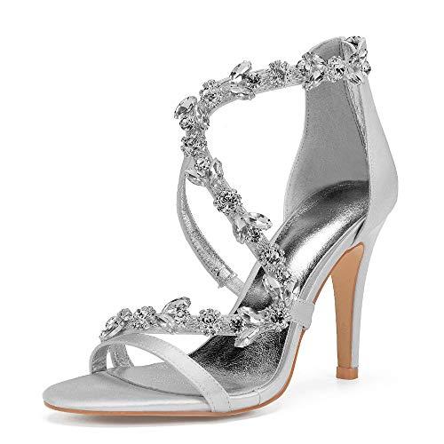 AIMISHOES Nuovo Arrivo Pumps Donne Partito Scarpe da Sposa Scarpe Tacchi Lusso Abito da Sposa Sandali Strass,Silver,38