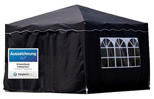 Kronenburg Faltpavillon WASSERDICHT Dachmaß 3 x 3 m UV Schutz 50+ Pavillon in Schwarz mit 4 Seitenteilen