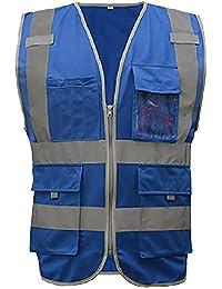 GOGO 8 bolsillos de alta visibilidad con cremallera frontal chaleco de seguridad con bandas reflectantes,