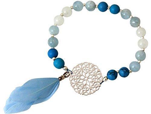 Gemshine Handmade - Armband - Silber - YOGA - Edelstein - Feder - Aquamarin - Blau - Boho