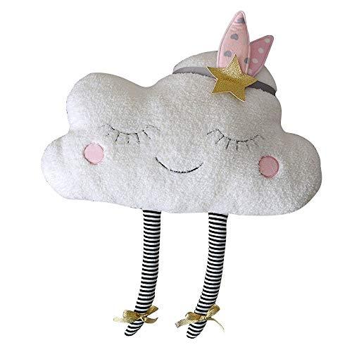 YUANYAUN520 Kopfkissen 35 * 58Cm Cute Sky Series Kissen Kawaii Cloud Plüschtiere Gefüllte Weiche Kissen Schönes Kissen Mädchen, Weiß, 23X38Cm -
