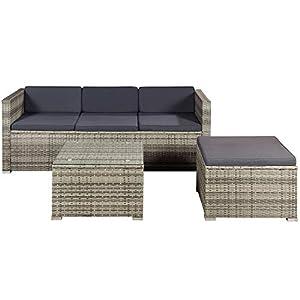 ArtLife Polyrattan Lounge Punta Cana M für 3-4 Personen mit Tisch in grau-meliert mit grauen Bezügen Gartenmöbel…