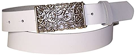 FRONHOFER Women's genuine leather belt, beautiful floral silver buckle, 1.2'/3cm, Size:waist size 41.5 IN XL EU 105 cm, Color:White