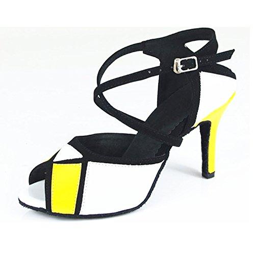 YFF Regalo donne danza scarpe ballo latino ballo tango danza scarpe 8.5cm Yellow-White