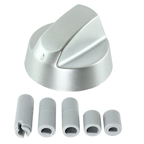 Drehknopf von Spares2go, für Herde und Kochfelder von Bosch, 1 - 6 Stück, plus Adapter, silberfarben Pack Quantity: 1 -