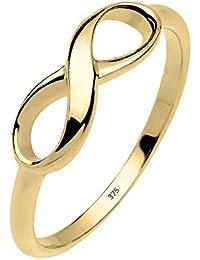Elli Premium Damen-Ring Stapelring Infinity Unendlichkeit 375 Gelbgold